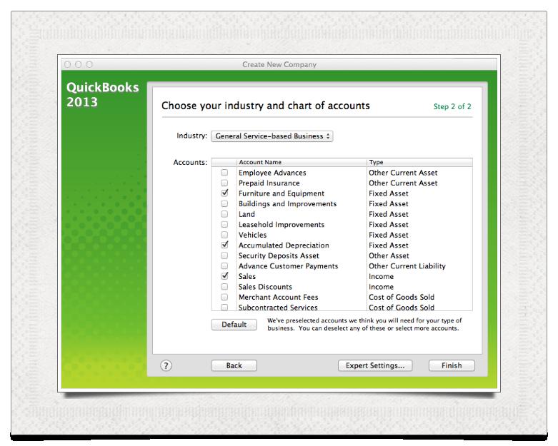Create Chart of Accounts
